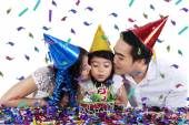 Togetherness of family in birthday party — Stok fotoğraf