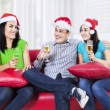 Happy teenagers drinking champagne — Stock Photo #57039259