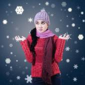 Confused Winter Woman — Stock Photo