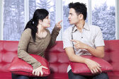 Couple quarreling in winter day — Stock Photo