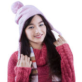 Pretty girl with knitted sweater — Stock Photo