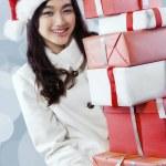 Happy girl get many christmas presents — Stock Photo #58037819