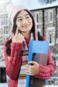 Gorgeous female student in knitted sweater — Stock Photo