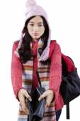 Student in warm clothes showing empty wallet — Stock Photo
