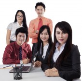 Businessteam in business seminar — Stock Photo