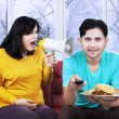 Furious pregnant mother on her husband — Stockfoto #58168469