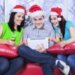 Happy asian teenagers celebrate christmas — Stock Photo #58168803