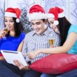 Teenagers group celebrate xmas day — Stock Photo #58170265
