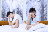 Sadness couple after quarreling at home — Stock Photo