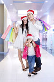 Happy family enjoy christmas sale — Foto Stock