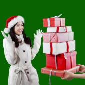 Attractive young girl receive presents — Stock Photo