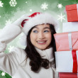 Young girl brings christmas gifts — Stock Photo #60223661