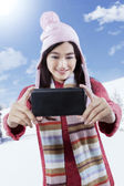 Girl taking self picture — Stock Photo