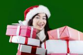 Gorgeous young woman with surprise present — Stock Photo