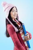 Young lady in winter clothes wink — Foto de Stock