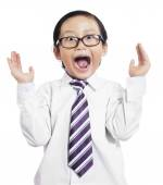 Funny little boy with shocked expression — Stockfoto