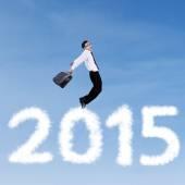 Joyful business person flying on the sky — Stockfoto