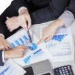 Business team hands pointing pie chart — Stock Photo #62503023