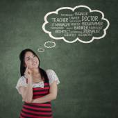 Chinese student thinking her dreams — Stock Photo