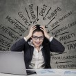 Mad businesswoman with many pressure — Stock Photo #62512483