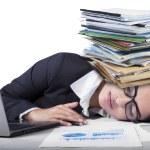 Overworked indian woman sleeping on desk — Stock Photo #62512911