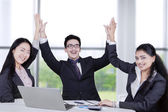 Successful business team celebrate their achievement — Stock Photo