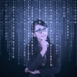 Businesswoman looking at binary code — Stock Photo #63141011