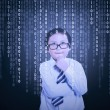 Little boy looking at binary code — Stock Photo #63145513