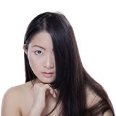 Girl with natural skin and hair in studio — Stock Photo