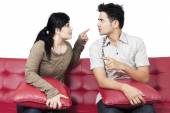 Angry couple blame each other — Stock Photo