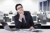 Male manager daydream his idea — Stock Photo