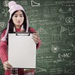 Disappointed student displaying blank copyspace — Stock Photo #65590783