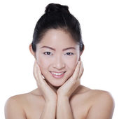Girl with perfect skin on white background — Stock Photo