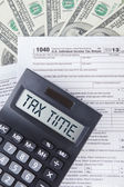Tax time words on the calculator — Stock Photo