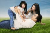 Cheerful family joking together at field — Stockfoto
