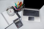 Office table with work equipments — Stock Photo