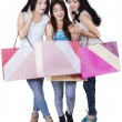 Group of happy teenage girls after shopping — Stock Photo #68174221