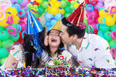 Happy girl celebrate birthday party at home — Stock Photo