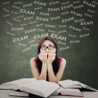 Student feel scared of exam — Stock Photo #68760241
