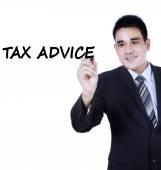 Asian person writes tax advice — Stock Photo