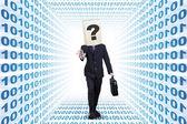 Businessperson walking on a binary aisle — Stock Photo