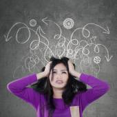 Stressful teenage girl with messy thought — Stock Photo