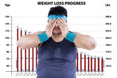 Tired man in weight loss program — Stock Photo