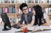 Two student laughing in class 1 — Stock Photo