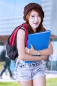 Lovely high school student at school — Stock Photo