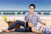 Lovely couple at seashore — Stock Photo