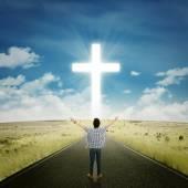 Man worshiping to the GOD — Stock Photo