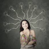 Teenage girl with branchy mind — Stock Photo