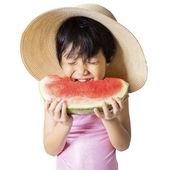 Hermoso niño comiendo sandía en estudio — Foto de Stock