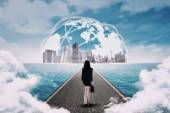 Woman walking toward the global business — Stock Photo